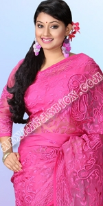Pink Moslin Sari Dhakai Jamdani Saree, Eid Collection 2014, Saree, Sharee, Sari, Bangladeshi Saree