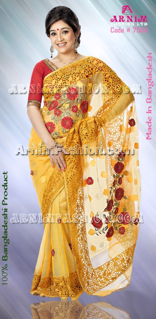 Yellow Jamdani Saree, Latest BangladeshiYellow Jamdani SareeCollection From ArnimFashion.com, BangladeshiYellow Jamdani Sareefrom Bangladeshi Fashion House Arnim Fashion Ltd,Yellow Jamdani Saree, Bangladeshi BoutiqueYellow Jamdani Saree,Yellow Jamdani Sareefrom Arnim Fashion,Yellow Jamdani Saree